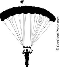 Skydiving - Silhouette of skydiver before landing. Vector...