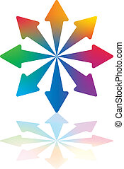 Dynamic Arrows - Eight Colored Arrows Pointing Outwards From...