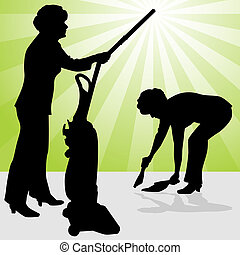 Senior Woman Using Vacuum and Dust Pan - An image of a...