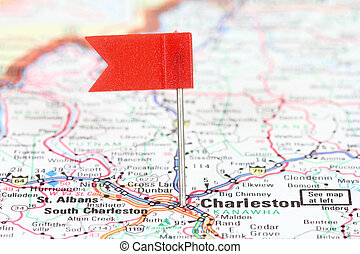 Charleston, West Virginia Red flag pin on an old map showing...