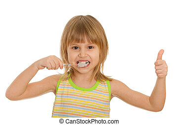 Little girl brushes her teeth; isolated on the white...