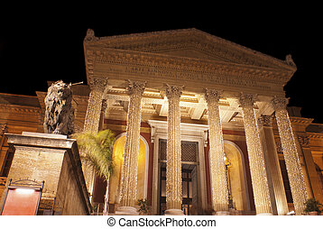 Theatre Massimo by night.Palermo - The Teatro Massimo...