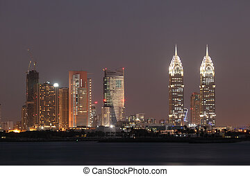 Dubai Media City at night. United Arab Emirates