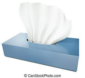 Tissues - Blue tissue box isolated on white background. 3D...