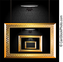 golden frame - dark wall, lighter and the empty gallery of...