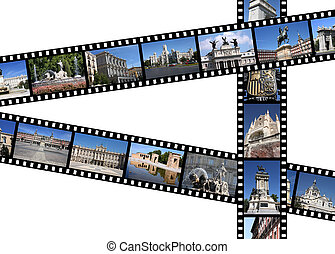 Madrid, Spain. Illustration - film strips with travel...
