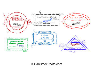 Travel stamps - Passport stamps from Asia. Grungy stained...