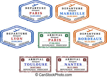 Visa stamps - Travel stamps from France. Grungy scalable...
