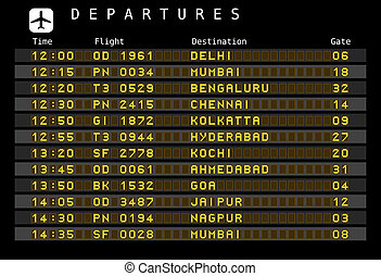 Airport departures - India - Departure board - destination...