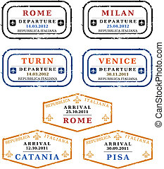 Vector stamps - Italy - Travel stamps from Italy. Grungy...