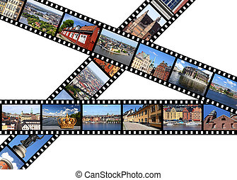 Travel memories - Illustration - film strips with travel...