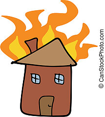 Home fire - House fire doodle Tragic disaster - insurance...