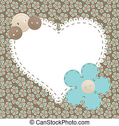 Vector vintage frame with love heart beautiful illustration...