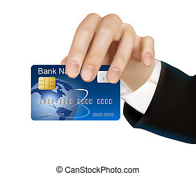 Credit card with chip in hand