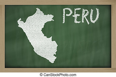 outline map of peru on blackboard - drawing of peru on...