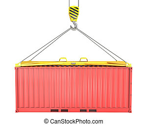 Freight container hoisted on container spreader