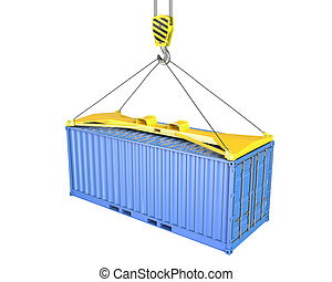 Freight container hoisted on container spreader, isolated on...