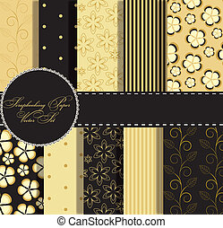 set of beaautiful vector gold and black paper for scrapbook