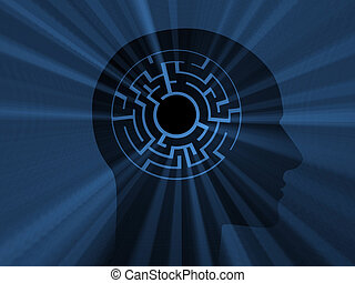 Head with labyrinth. 3D image