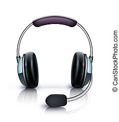 headset icon - illustration of cool headphones with...