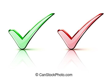check mark Icons - illustration of red and green check mark...