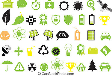 Green energy icons, concept of energy saving, ecology and...
