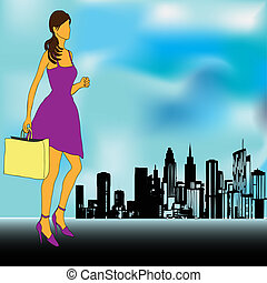 Big City Shopping - An elegant lady going shopping in a Big...
