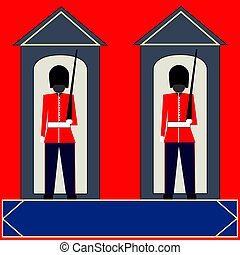 Sentry Boxes - Illustration of Guardsmen standing sentry in...
