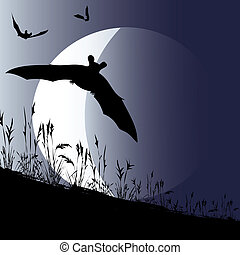Bat Moon - Halloween background illustration with bats...