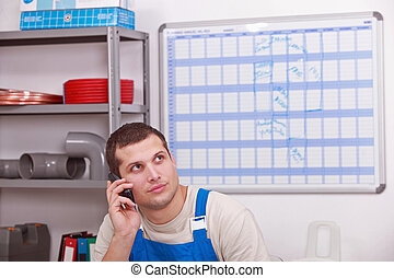 Man ordering parts to complete inventory