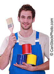 Decorator with pots of paint