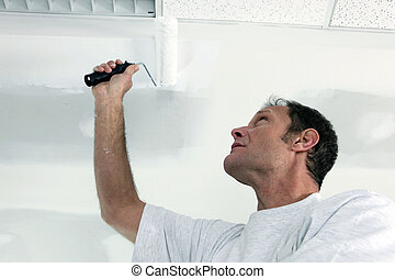 Painting office ceiling