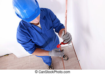 Plumber with copper tube