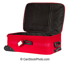 Open red suitcase with blank identification tag isolated...