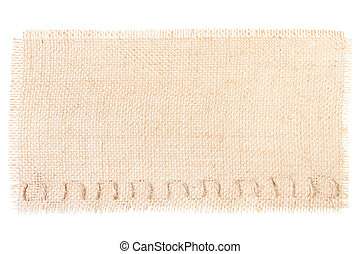 sackcloth tag with decor over white.copy space. burlap texture