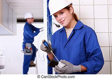 equipo, electricistas