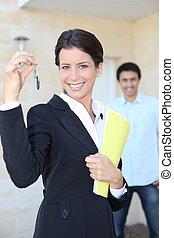 propiedad, agente, puerta, llaves