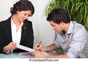 firma, documentos, hombre