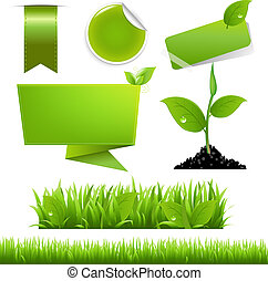 Green Eco Set, Isolated On White Background, Vector...