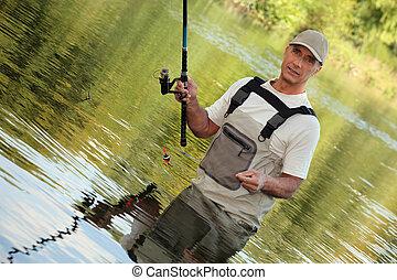 oblicuo, imagen, pescador, río
