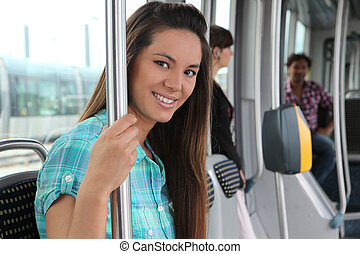 Teen on the tram
