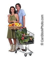 chariot, entiers,  couple, produire, panier, frais