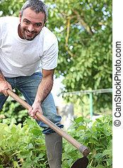 Man working in garden