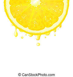 Lemon Segment With Juice, Vector Background