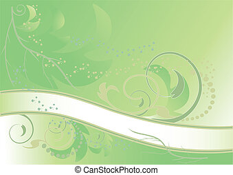 Abstract green floral banner of modern...