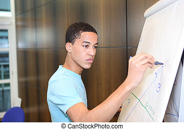 Business student drawing graph on flip-chart