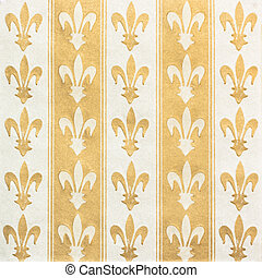 Royal lily (fleur-de-lis) pattern green and yellow vintage...