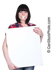 Woman with bandage on mouth holding panel