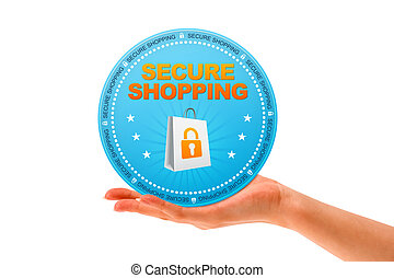 Secure Shopping - Hand holding a Secure Shopping icon on...