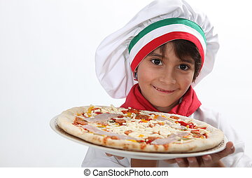 kid disguised as pizzaiolo